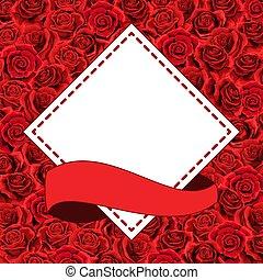 Elegant red roses floral bouquet as frame. Vector summer border design