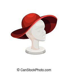 Elegant red wide brimmed hat on female mannequin head. Stand...
