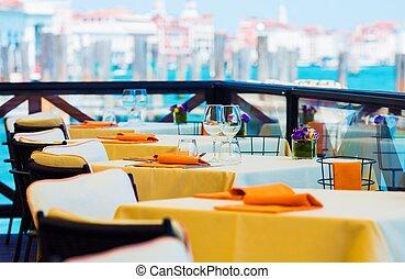 Elegant Restaurant Dinning. Prepared Restaurant Tables...