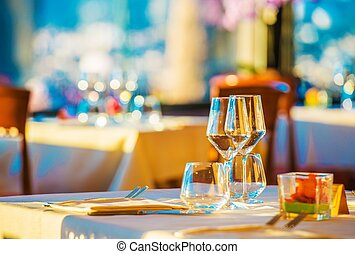Elegant Restaurant Table Ready For First Customers. Elegant...