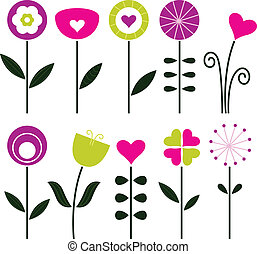 elegant, retro-blüten, freigestellt, weiß, -, schwarz, bunte