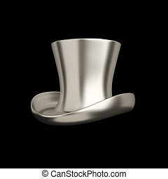 Elegant retro silver top hat isolated on black background