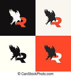 Elegant reven bird icon vector logo. Luxury alphabet frame symbol.