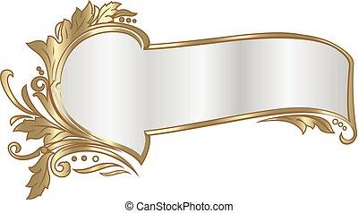 Elegant ribbon frame in baroque style. - Vector richly...