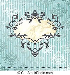 Elegant rococo label in blue - Elegant silver and blue...