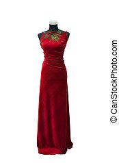elegant, rode jurk, op, een, paspop, vrijstaand, op wit