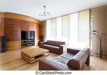 Elegant room with home cinema system