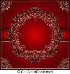 elegant, roter hintergrund, mit, gold, verzierung