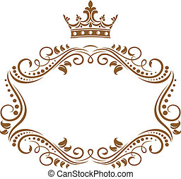 Elegant royal frame with crown isolated on white background
