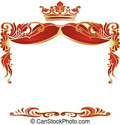 Elegant royal frame with crown isolated on white background.