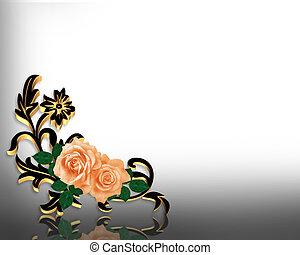 elegant, rozen, ontwerp, hoek