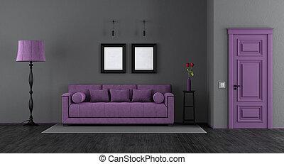 Lila, wohnzimmer. Lebensunterhalt, segeltuch, zimmer, lila, sofa ...