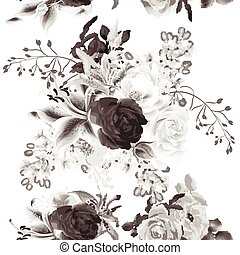 Elegant seamless background with roses in monochromic sepia style.eps