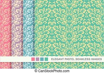 Elegant seamless pastel background set sprial curve leaf...