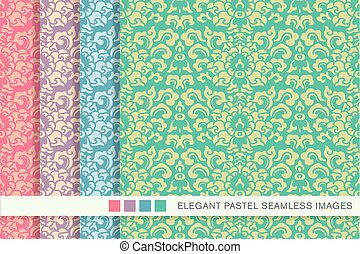 Elegant seamless pastel background set sprial curve leaf...