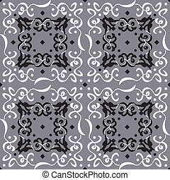 Elegant Seamless Pattern Decoration Silver Background