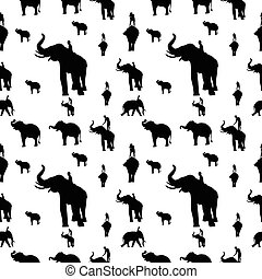 Elegant seamless pattern with abstract elephant symbols