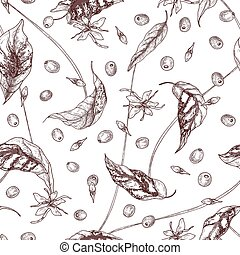 Elegant seamless pattern with coffea or coffee tree flowers, leaves and ripe fruits or berries hand drawn with contour lines on light background. Natural vector illustration in realistic style.