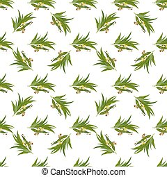 Elegant seamless pattern with eucalyptus leaves, flowers and see