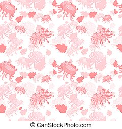 Elegant seamless pattern with hand drawn decorative flowers in pink and yellow chrysanthemums