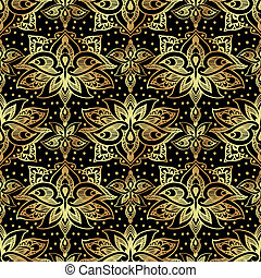 Elegant seamless pattern with royal lilies. Golden flowers on a black background.