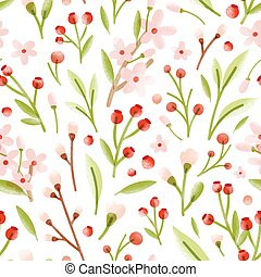Elegant seamless pattern with translucent tender spring flowers, forest berries, leaves scattered on white background. Natural vector illustration for wrapping paper, backdrop, textile print.