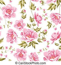 elegant, seamless, pfingstrose, pattern.