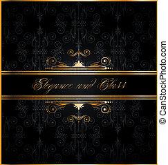 Elegant seamless wallpaper with golden decorations - Elegant...