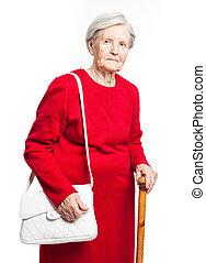 Elegant senior woman over white