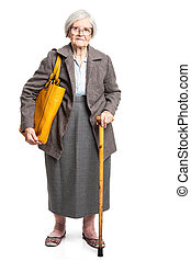 Elegant senior woman with walking stick