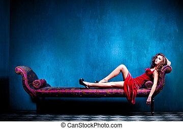elegant sensual woman - sensual elegant young woman in red...