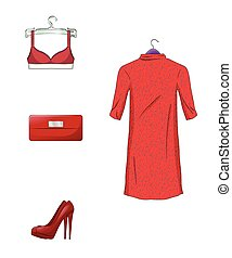 Elegant set of female clothes and accessories in red color....