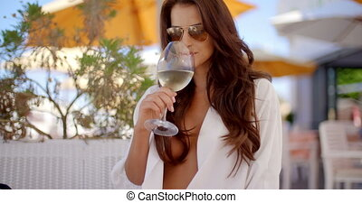 Elegant Sexy Woman Drinking White Wine