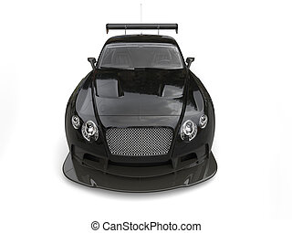 Elegant shiny black super car - front view