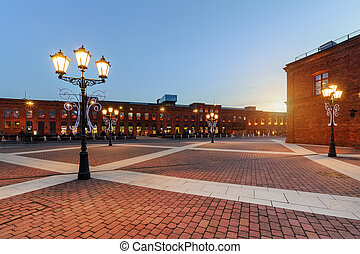 Elegant shopping Mall in Lodz on the sunset, Poland, Europe.