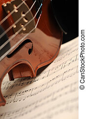 Elegant shot of a violin on a music sheet