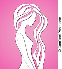 Elegant silhouette of a young woman