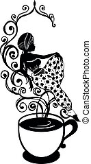 Elegant silhouette of beautiful arab woman on smoke of a cup of coffee or tea. Beautiful silhouette for stylish and luxurious design