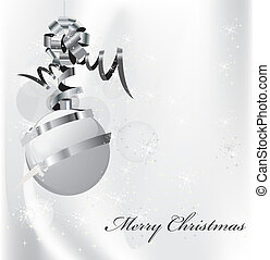 Elegant silver christmas background with balls eps10