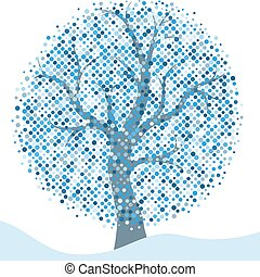 Elegant silver Christmas frame with isolated stylized winter tree