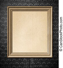Elegant simple empty wooden frame with on vintage wallpaper