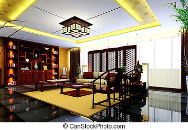 Elegant sitting room - Chinese custom chairs, bookcases,...