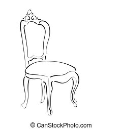 Elegant sketched chair. Design template for label, banner, ...