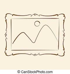 Elegant sketched picture frame.