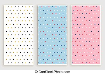 elegant small circle polka pattern banners set