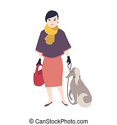 Elegant smiling woman dressed in stylish evening clothing standing and holding her dog in leash. Flat cartoon character with pet isolated on white background. Colored vector illustration.
