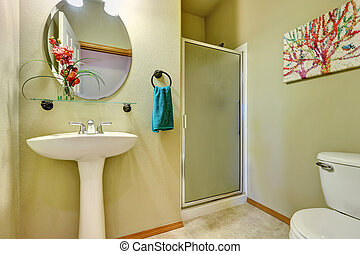 Elegant soft creamy bathroom interior design.
