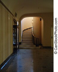 Elegant staircase - Dark corridor and staircase