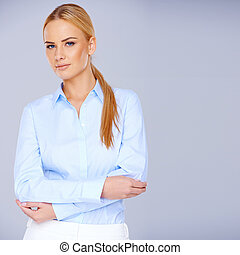 Elegant stylish blond woman in smart casuals