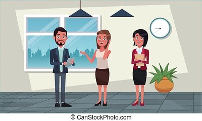 elegant successful business people animation characters